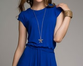 Blue Maxi Dress Summer, Simple Long Dress With Short Sleeve.