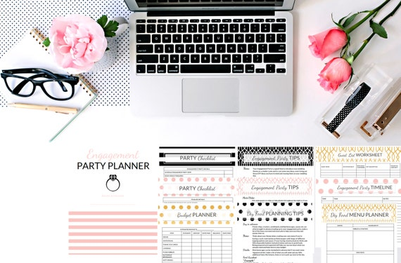 DIY Engagement Party Planner Printable - Gold Foil, Pink, Black, Polka Dot, Stylish, Modern [FREE Shopping List]