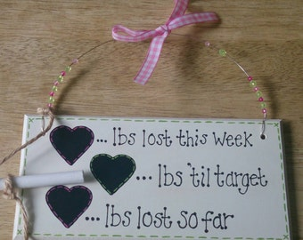 New year, New you!  Record your weightloss success with a handpainted plaque. Available in any colour scheme