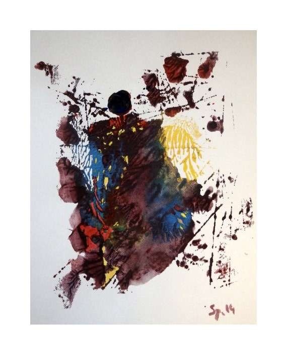 Character shape original acrylic painting on paper abstract - Painting tool avis ...