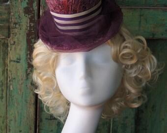 Dark Fuchsia Sinamay Mini Top Hat -  Steampunk Goth Topper Mini Tophat Cosplay Costume Millinery - Custom made Fascinator Top Hat