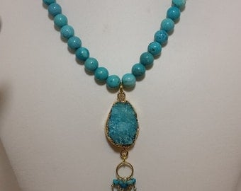 druzy & howlite bead necklace