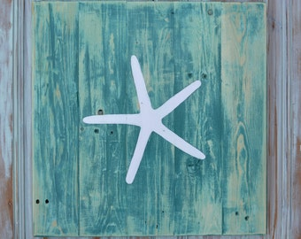 "Handmade 13"" x10"" STARFISH Wall Hanging Reclaimed Pallet Rustic Art Decor, Wood Planks, Nautical, Beach House, Sail Boat, Nursery"