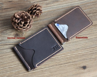 Money Clip Wallet Essentials Leather Clip Wallets ONLY fits US currency Men's Leather Money Clip Wallet Groomsmen Gifts Bifold Wallet