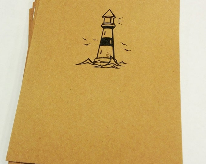 Lighthouse Mini Notebook - diary, journal, party favors, multipack, seaside, ship light, ocean guide, custom printing included