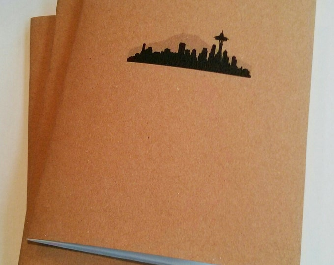 Seattle Notebook - diary, journal, party favors, multipack, custom printing included skyline space needle travel notebook seattle souvenir