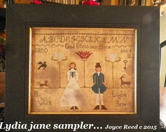 Lydia Jane primitive cross stitch sampler pattern...