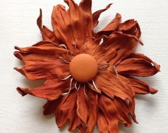 Terracotta Leather Flower Brooch