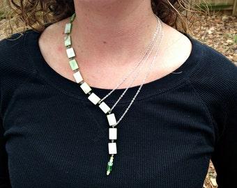 abolone green rectangle 18 inch asymmetrical necklace