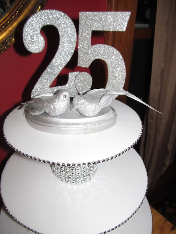 25th Wedding Anniversary Cake Topper by PartyStylingsofMandy