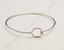Stainless Steel Bangle Bracelet with Hexagon End, Wholesale Bracelet Supply, USA Seller