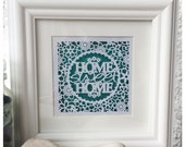 Home Sweet Home Square Paper Cut / Papercut Template - Commercial Use - Instant download.