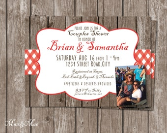 Picnic Bridal Shower Invitation, Gingham Invitation, Picnic Birthday Invite, Couples Shower Invitation, Wood Invitation, Printable, Digital