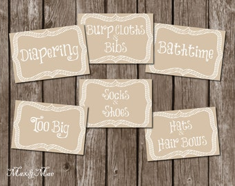 Nursery Organization Labels, Baby Room Labels , Nursery Decor, Printable, Digital