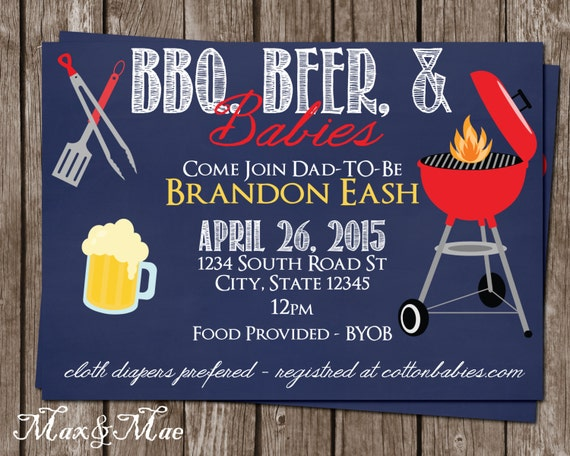 bbq-beer-babies invitation diaper party invitation diapers, Party invitations