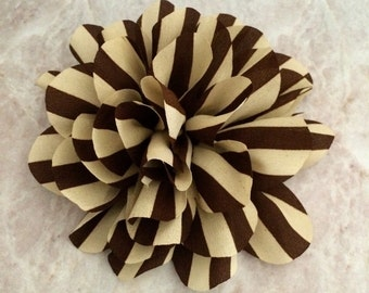 Brown Striped flower, chiffon flower, flower puff, DIY supplies, large flower,