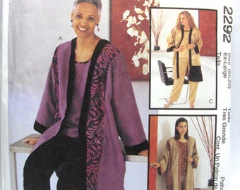 McCALL'S 2292, Misses' Unlined Jacket, Top, and Pull-On Pants, Size: Ex-Large (20,22)