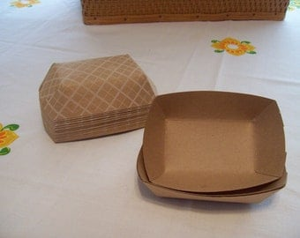 Paper Food Trays, 25 Small Kraft Food Trays, Paper Party Supplies, Concession, Wedding Food Tray, 4 Ounce Trays