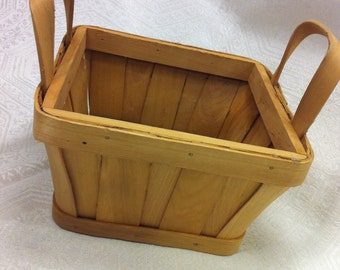 "Beautiful 7"" Shaker Style Square Two Handle Basket Handcrafted"