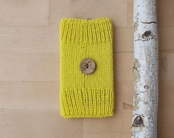 Hand Knit Yellow Phone Sleeve with Etched Wooden Button, Pouch, Cover, Cosy, Sock, Apple iPhone 6, Samsung Galaxy S4