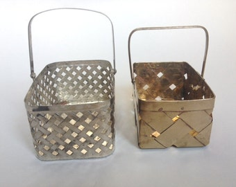 Chic Vintage Brass and Silver Baskets - Set of Two