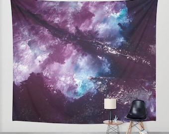 NEBULA Wall Tapestry (Indoor/Outdoor) Galaxy Space Painting Purple Blue Home and Living Art/Wall Hanging/Picture/Tapestries/Home Decor