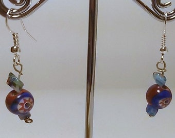 Multi Colored Millefiori Bead .925 Sterling Silver Earrings - Free Shipping