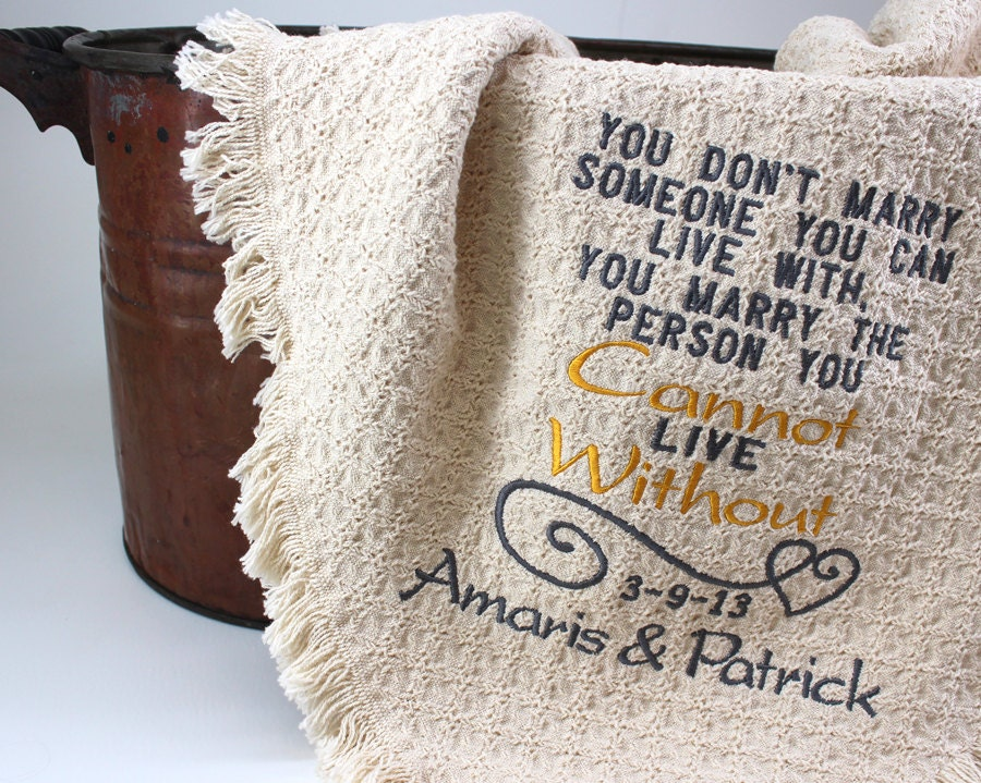 2nd Wedding Anniversary Traditional Gift Ideas : 2nd Anniversary Cotton Gift Personalized Embroidered Throws