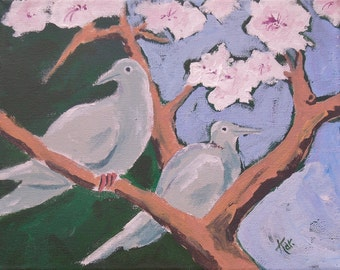 Doves in the Apricot Tree 1, Mourning Doves, Original Acrylic Painting on Canvas by Karlene Voepel