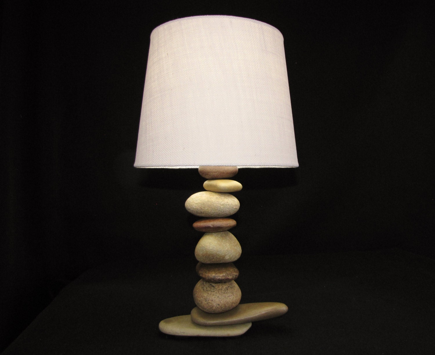 Rock lamp with lamp shade stone lamp made with river rock in for River rock lamp