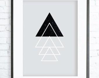 Instant Download Printable, Triangles Tree, Print Art,  modern art, tree art, tree print, Christmas tree, Christmas Printable