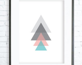 Instant Download Printable, Christmas Printable art, Pink and Blue Triangles Tree, Print Art,  modern art, tree art, tree print