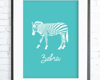 Turquoise Zebra Print Art, Instant Download Printable, Zebra printable art, Print Art, Zebra Wall Decor, Zebra Art Print