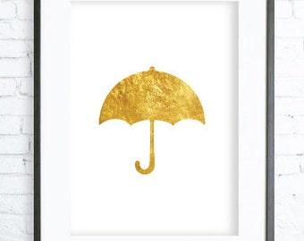 Gold Umbrella Print, Gold Poster, Gold Umbrella  Wall Decor, Umbrella Art Print,Umbrella  Print, Umbrella Wall Art