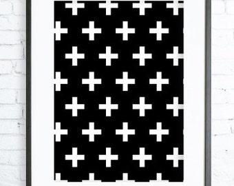 White Cross Art, Black and White Decor, Scandinavian Art,Scandinavian Nursery Wall Art, Plus Sign Wall Prints, Scandinavian Cross Print