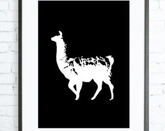 Black and White Llama, Instant Download Printable,Llama art, digital art, Llama Print, black and white