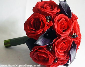 Black, red, deep plum, wedding bouquet, Real Touch flowers, Bride & Groom set, orchids, hydrangea, stephanotis and calla lilies