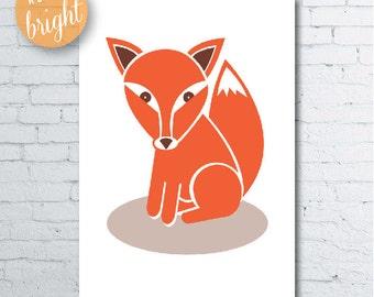 Fun Bright & Retro Fox Print A3 (297x420mm) Nursery Print Digital Download