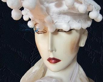 elegant hat, white cotton and pompoms faux-fur, love woman retro bibi, collection piece, ceremony wedding country & city, evening cocktail