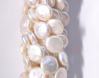 10mm,13mm Coin White Freshwater Pearl Beads  -- 15 inch strand