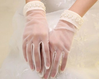 Luxury bridal gloves ivory bridal gloves pearl wedding gloves high quality gloves in handmade