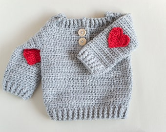 CROCHET PATTERN - Crochet Baby Sweater Red Heart - Baby Pullover - PDF