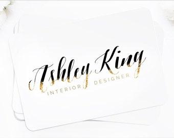Logo Design Branding Package Premade Graphics Custom Text Ombre Glitter Gold Black