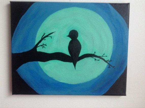 toile acrylique peinture oiseau sur la branche format. Black Bedroom Furniture Sets. Home Design Ideas