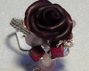 RR29S Crimson rose with pink and burgandy crystals, on silver wire, size 7 1/2