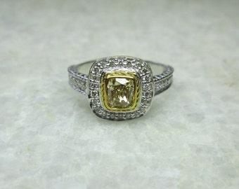 Yellow Diamond Engagement Ring, 14K Solid Gold Sparkling Fancy Intense Yellow  Diamond Wedding Ring