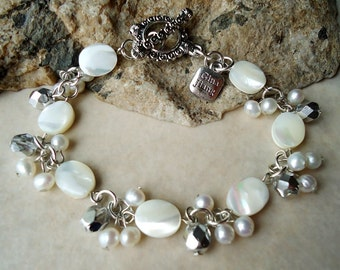 White Mother of Pearl Cluster Bracelet.Crystals.Toggle plated in sterling silver.Bridal.Birthday.Mother's.Beach Wedding.Beadwork.Handmade.