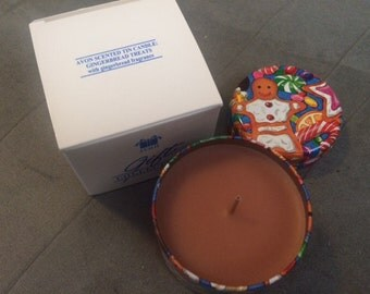 Vintage Avon Scented Tin Candle Gingerbread Treats with Gingerbread Fragrance Collectible New in Box