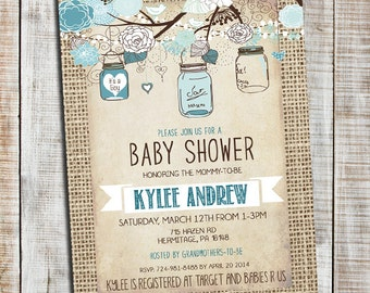 Cute Boy Baby Shower Invitation, Burlap Rustic Baby Boy Shower Invitation, Mason Jar, Printable Invite Blue _53