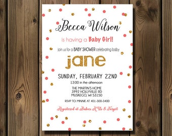Pink and Gold baby girl shower invitations, Printable Baby Shower Invitation, Digital invite _96